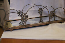 """Vintage Mirrored Vanity Bronze Plated Tray 14"""" long"""
