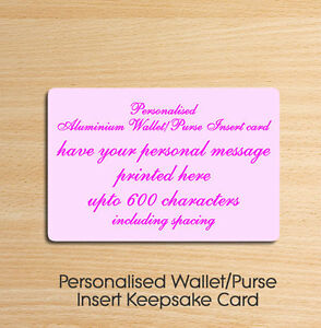 Personalised Metal Aluminium Wallet Insert Card - Ideal Keepsake Gift Pink