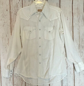 VINTAGE ELY PLANES RIDER Mens Pearl Snap Stitched Western Shirt 16/34