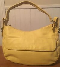 Stone Mountain Yellow Leather Shoulder Bag Purse Great For Summer Excellent