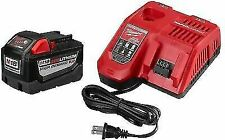 New Milwaukee M18 and M12 Charger/ Two M18 Red Lithium XC 5.0 Batteries,Open Box
