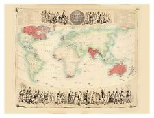Old Vintage Decorative Map of British Empire Fullarton 1872