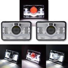 """4X6"""" Chrome LED HID Light Bulb Crystal Clear Sealed Beam Headlamp Headlight Pair"""