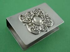 Sterling LUNT Match Box Holder Cover w/ ornate scroll pattern NoMono ~ $32 each