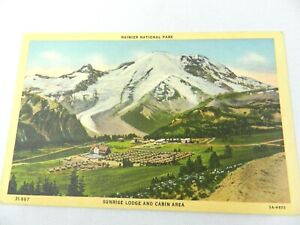VINTAGE LINEN POSTCARD SUNRISE LODGE AND CABIN AREA AT RAINIER NATIONAL PARK