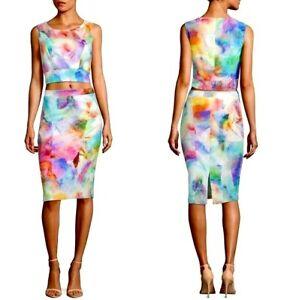 Black Halo Womens Skirt Set Size 6 Jasper Watercolor 2 Piece Sleeveless New
