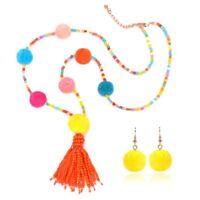 Pom Beads Jewelry Set Long Tassel Necklace Necklace+Earrings Pendant Earrings