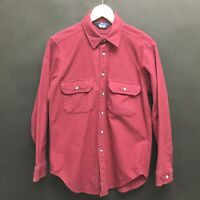 Vintage Mens Medium WOOLRICH Chamois Cloth Shirt Cotton USA MADE Burgundy 13c
