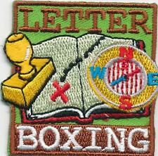 Girl Boy Cub LETTER BOXING Fun Patches Crests Badges SCOUTS GUIDE trip day