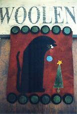 PRIMITIVE WOOL APPLIQUE PENNY RUG PATTERN BLACK CAT CHRISTMAS TREE *NEW*