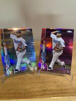 2020 Brusdar Graterol Lot of 2 Topps Chrome Rookie RC Pink Prism Dodgers