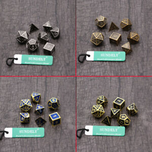 7Pcs/Set Antique Metal Polyhedral Dice DND RPG MTG Role Playing Game With Bag AU