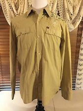 Mens QUICKSILVER Handmade L Large LS Twin Snap Pockets Embroidered F Cuff Shirt