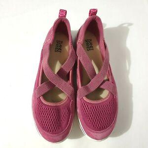 Planet Shoes Sz 10 Pink Kit Comfort Walking Slip On Elastic Straps White Sole