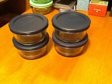 Set of 4 Anchor Hocking Glass 1cup  storage Containers w/ lids