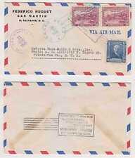 "EL SALVADOR 1945 DECLARED VALUE AIR COVER ""FIESTAS AGOSTINAS"" SAN MARTIN TO USA"