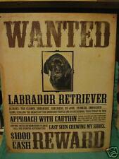 Tin Sign- Wanted- Black Labrador Retriever- Reward