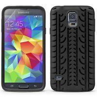 Schutz Hülle Folie für Samsung Galaxy S5 / Neo Tasche Case Cover Silikon schwarz
