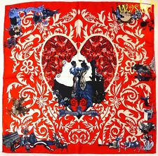"CHRISTIAN LACROIX red FLAMENCO colorful HEART silk twill 34"" scarf NWT Authentic"
