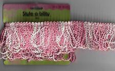 1 yard Pink & White Trim Fringe Sewing Fabric Craft Supplies Embellishment
