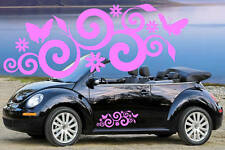 2 X Spiral Butterfly & Flower Car Sticker,Window Sticker,Pink Butterfly,Daisy