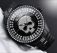 MARC ECKO MEN'S BLACK METAL WITH CRYSTALS SKULL WATCH E20049G1