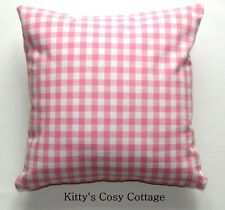 "16"" Laura Ashley 'Pink Gingham' fabric cushion cover"