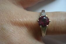 vtg Sign LC~Heavy 5g 14k gold engraved red tourmaline solitaire ring Sz7~Free SH