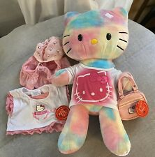 """Hello Kitty Build a Bear, Watercolor Tie Dyed Pastel 19"""" Plush Extra Clothes"""