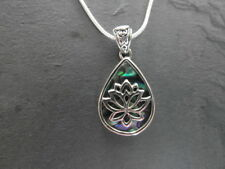 Balinese Stirling silver Lotus Teardrop pendant with Paua Abalone inlay & chain