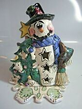 Nwt Blue Sky Clayworks Snowman Votive Candle 2001 Heather Goldminc ~ New In Box