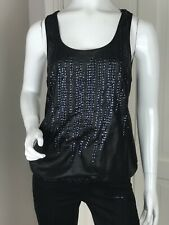 Replay Black Sequin Backless Top Size M (UK 10-12)