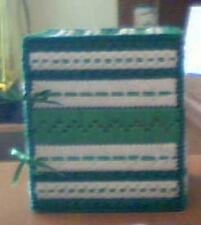 Handmade Tissue box holder Green and white with satin lace