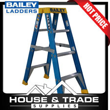 Bailey Ladder 4 Step 1.2m Fibreglass 150kgs Double Sided Stepladder FS13978
