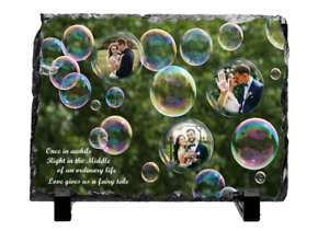 Personalised Photo Wedding  Memories Rock Slate Gift For Groom and Bride