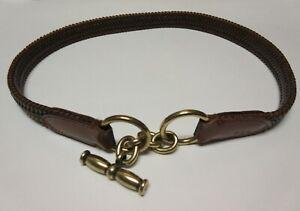 "Ralph Lauren Women's Belt 29"" Medium Leather Brown Elastic Braided M EUC"