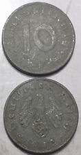 Germany Third Reich 10 Reichspfennig 1940-1945 with Swastika 21mm Zinc Coin 1pcs