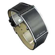 LED Date Digital Women Men Sports Leather Bracelet Wrist Watch Hoc