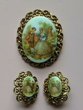 Fragonard victorian porcelain hand painted gold tone clip earrings & pin brooch