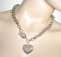 COLLIER ARGENT femme ras du cou chaîne coeur pendentif strass anneaux métal N47