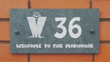 slate house name plaque with MADNESS madhouse