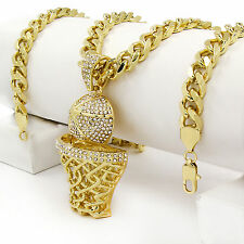 "Men Iced Out Hip Hop 14k Gold Plated BasketBall CZ Pendant 30"" Cuban Link Chain"