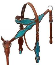 Showman Headstall & Breast Collar Set W/ TEAL Filigree Embossed Overlay! TACK!