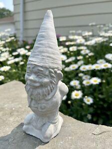 Whimsical Garden Gnome Concrete Statue Unique Ornamental Outdoor Statuary Decor
