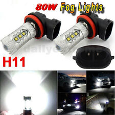 2x 6000K White H11 High Power 80W LED Bulbs Fog DRL Driving Light Head Lamp