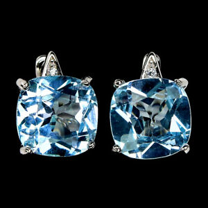 Cushion Sky Blue Topaz 10mm Cz 14K White Gold Plate 925 Sterling Silver Earrings