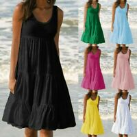 Sleeveless BOHO Dress Women Shirt Summer Beach Dress Loose Casual Midi Dresses