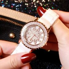 Waterproof Luxury Women's Rose Gold Full Diamond Sunflower Rotation Quartz Watch