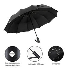 Black Auto Open & Close Windproof Travel Umbrella Compact Folding Windproof Rain