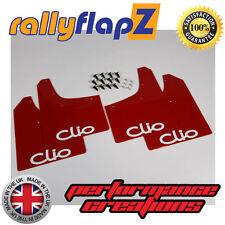 Mudflaps RENAULT CLIO MK2 (98-06) Mud Flaps rallyflapZ Red Logo White 4mm PVC